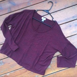 Loose fit burgundy sweater